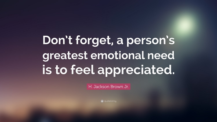 Appreciation is important